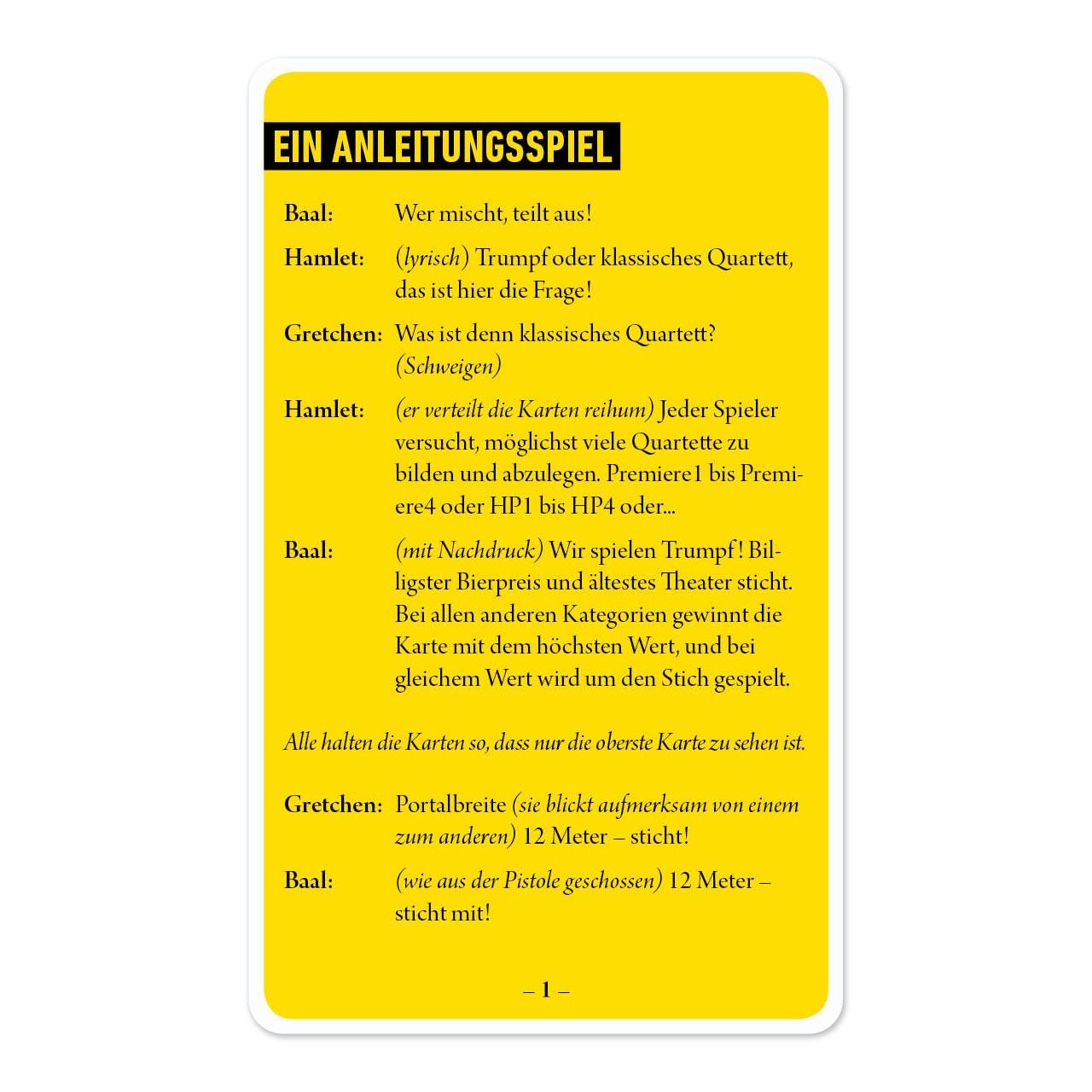 Theaterquartett, Anleitungsspiel 1